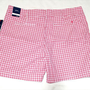 Izod Shorts - Izod Bar Harbor Womens Pink Plaid Shorts (Size 16)